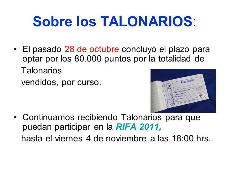 Sobre los TALONARIOS: El pasado 28 de octubre concluyó el plazo para optar por los 80.000 puntos por la totalidad de Talonarios vendidos, por curso.