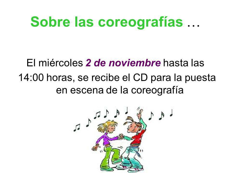 Sobre las coreografías … El miércoles 2 de noviembre hasta las 14:00 horas, se recibe el CD para la puesta en escena de la coreografía
