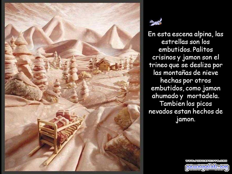 En este paisaje los principales componentes son: Jamon – cielo y montañas, cascada y rio; Pan – rocas; Crisinos – cabaña; Salame - tejado