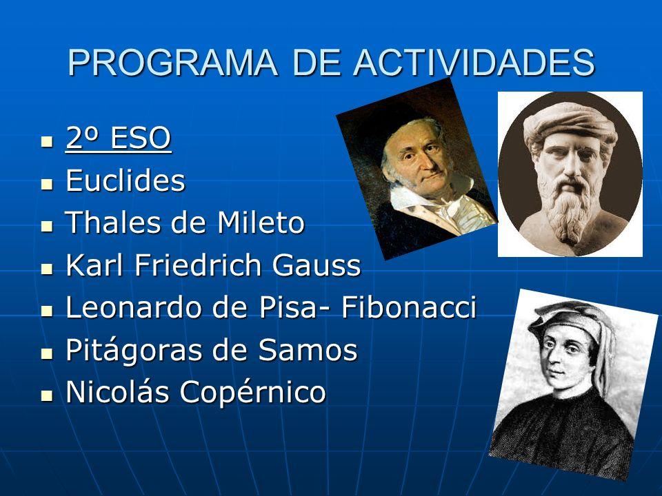 PROGRAMA DE ACTIVIDADES ESTUDIANDO EN LAS FACULTADES DE CIENCIAS AA.