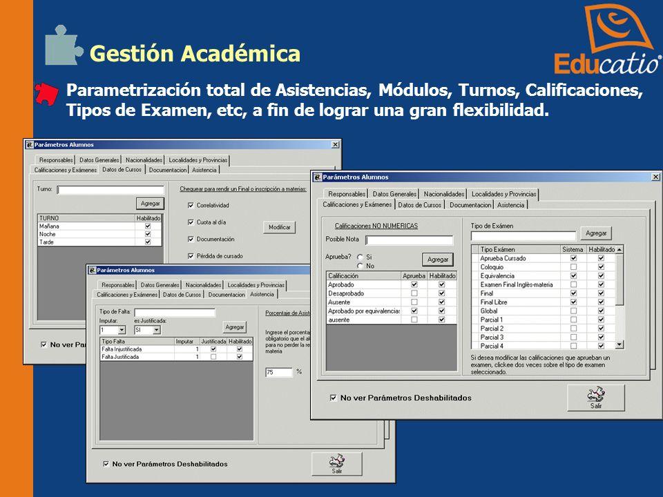 Gestión Académica Parametrización total de Asistencias, Módulos, Turnos, Calificaciones, Tipos de Examen, etc, a fin de lograr una gran flexibilidad.