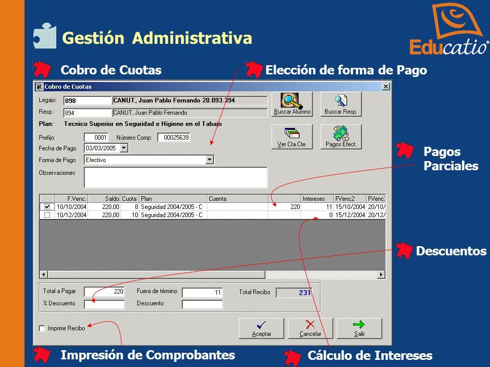 Gestión Administrativa Cobro de Cuotas Impresión de Comprobantes Pagos Parciales Descuentos Elección de forma de Pago Cálculo de Intereses