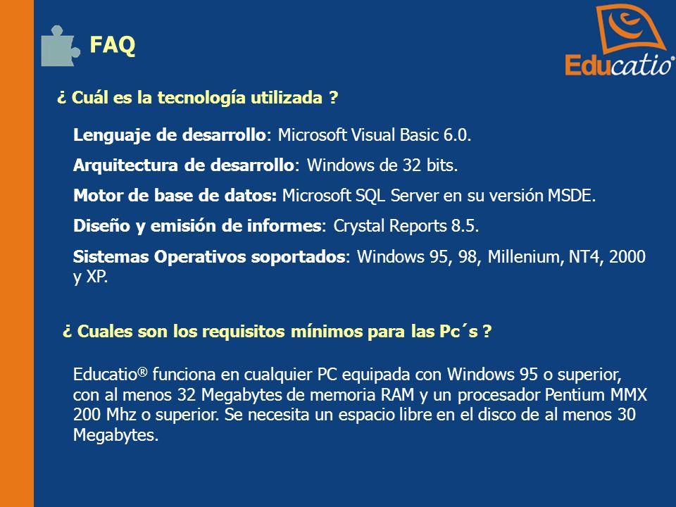 ¿ Cuál es la tecnología utilizada .FAQ Lenguaje de desarrollo: Microsoft Visual Basic 6.0.