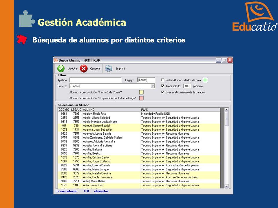 Gestión Administrativa Creación y administración de cuentas corrientes de alumnos.