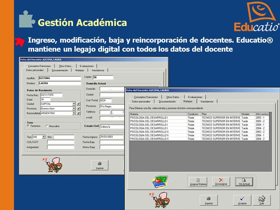 Gestión Académica Asignación y des-asignación de docentes a materias.