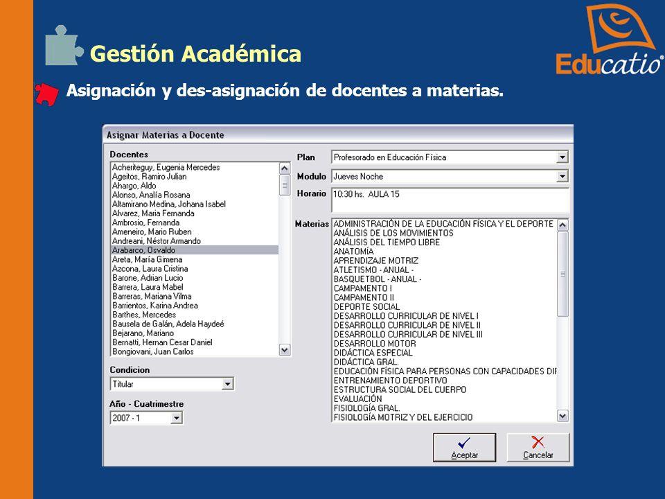 Gestión Académica Ingreso de calificaciones e inasistencias por alumno y por grupo.