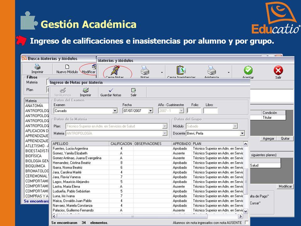 Gestión Académica Ingreso de Plan de Correlatividades. Control de Correlatividades por alumno.