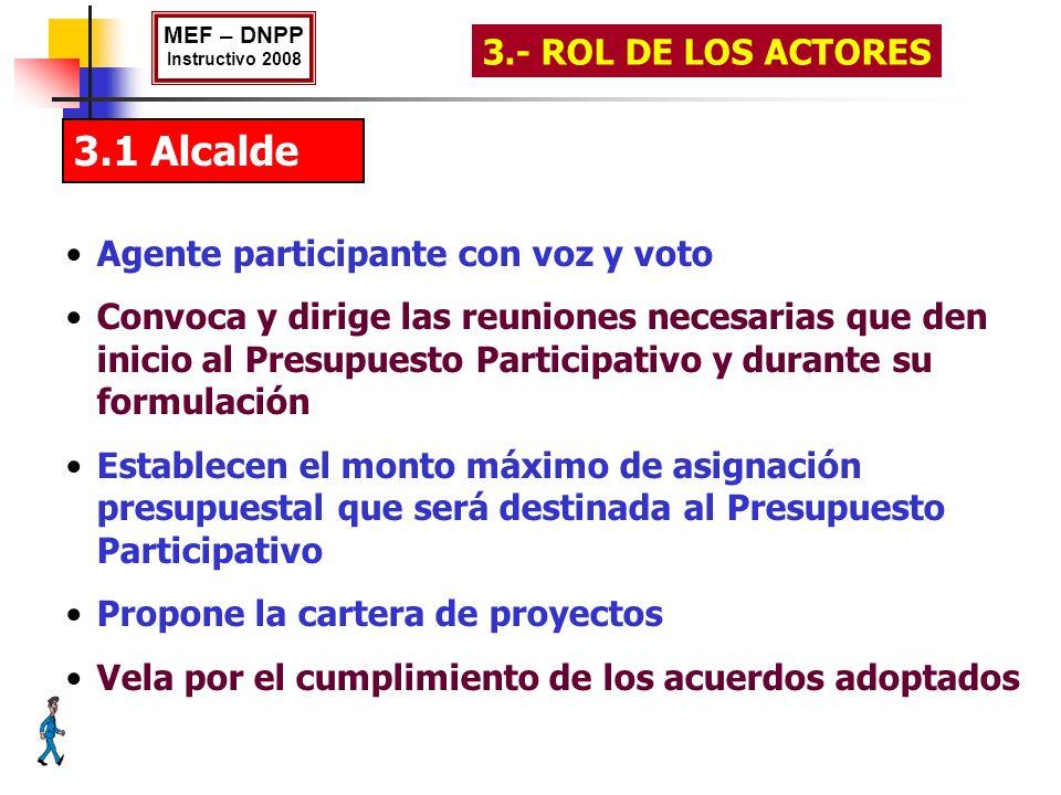 3.1 Alcalde Agente participante con voz y voto Convoca y dirige las reuniones necesarias que den inicio al Presupuesto Participativo y durante su form