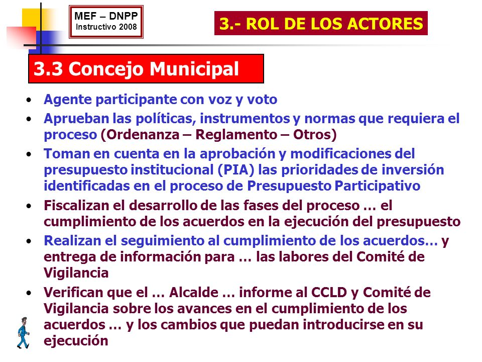 3.3 Concejo Municipal MEF – DNPP Instructivo 2008 3.- ROL DE LOS ACTORES Agente participante con voz y voto Aprueban las políticas, instrumentos y nor