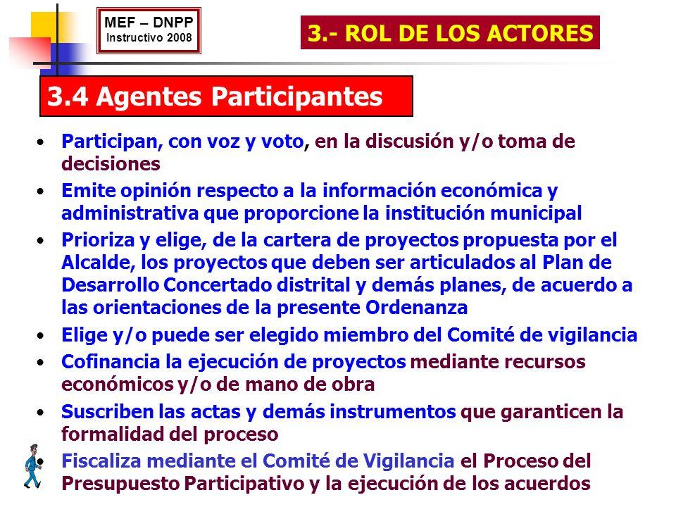 3.4 Agentes Participantes MEF – DNPP Instructivo 2008 3.- ROL DE LOS ACTORES Participan, con voz y voto, en la discusión y/o toma de decisiones Emite