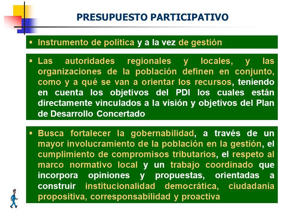 Instrumento de política y a la vez de gestión PRESUPUESTO PARTICIPATIVO Las autoridades regionales y locales, y las organizaciones de la población def