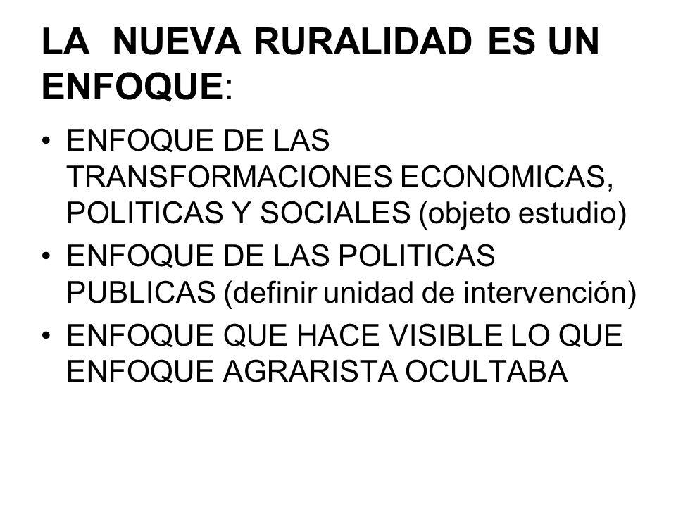 PARTE DE LA CRITICA A LOS ENFOQUES: -AGRARISTA (PRODUCTIVISTA) -RURALIDAD TRADICIONAL (DICOTOMICO) -REALIDAD RURAL YA NO PASA POR: REFORMA AGRARIA / REVOLUCION VERDE / LATIFUNDIO-MINIFUNDIO / ECONOMIA EMPRESARIAL-ECONOMIA CAMPESINA -FRACASO DE POLITICAS DE DESARROLLO DE ORGANISMOS MULTINACIONALES Y ESTADO