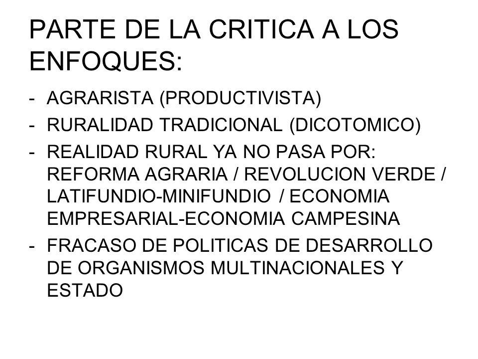 PRINCIPIOS DEL ANALISIS DE LA NUEVA RURALIDAD: IMPORTANCIA DEL TRABAJO NO AGRICOLA (soc.