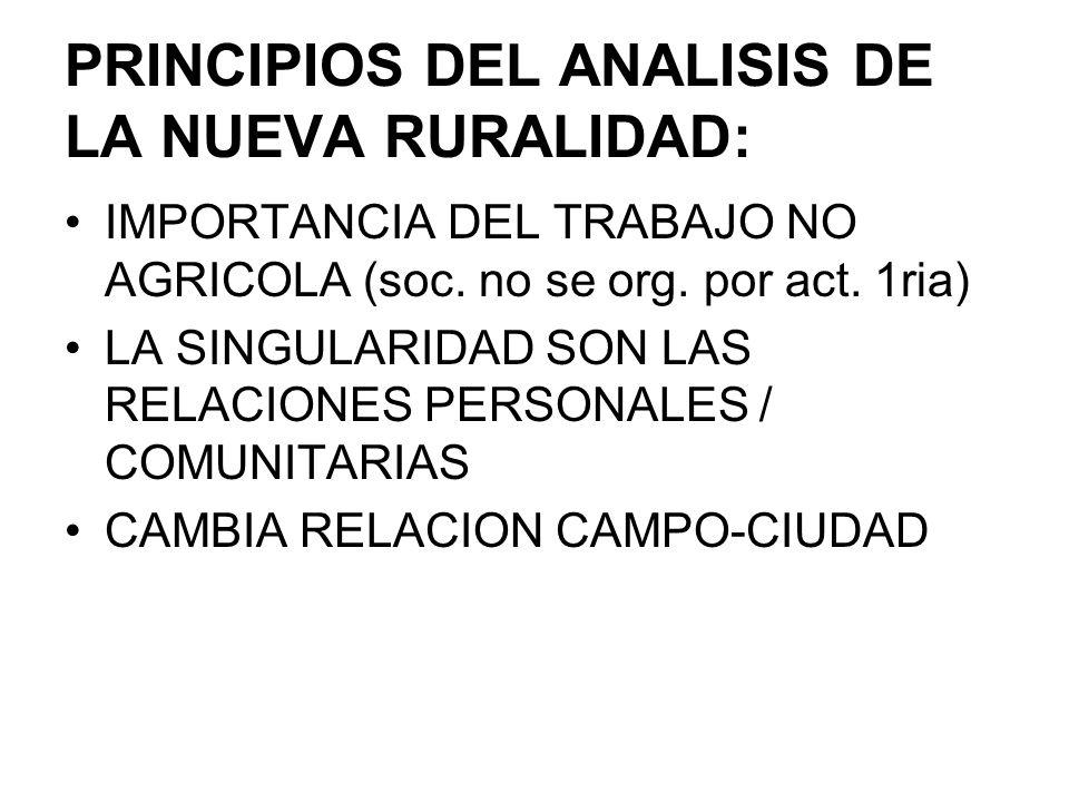 PRINCIPIOS DEL ANALISIS DE LA NUEVA RURALIDAD: IMPORTANCIA DEL TRABAJO NO AGRICOLA (soc. no se org. por act. 1ria) LA SINGULARIDAD SON LAS RELACIONES