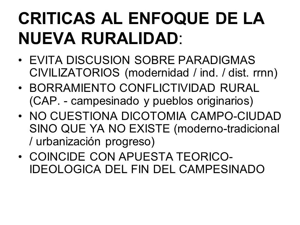 CRITICAS AL ENFOQUE DE LA NUEVA RURALIDAD: EVITA DISCUSION SOBRE PARADIGMAS CIVILIZATORIOS (modernidad / ind. / dist. rrnn) BORRAMIENTO CONFLICTIVIDAD