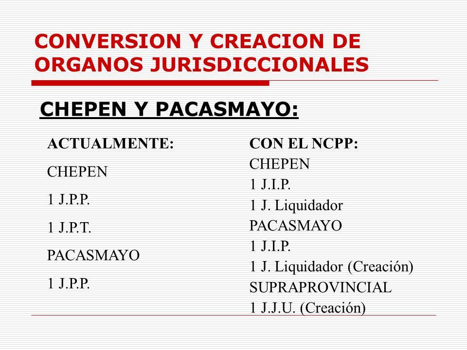 CONVERSION Y CREACION DE ORGANOS JURISDICCIONALES CHEPEN Y PACASMAYO: ACTUALMENTE: CHEPEN 1 J.P.P. 1 J.P.T. PACASMAYO 1 J.P.P. CON EL NCPP: CHEPEN 1 J