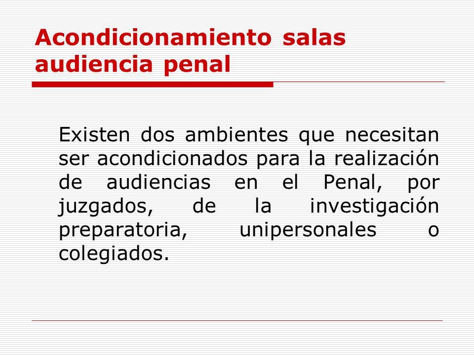 Acondicionamiento salas audiencia penal Existen dos ambientes que necesitan ser acondicionados para la realización de audiencias en el Penal, por juzg