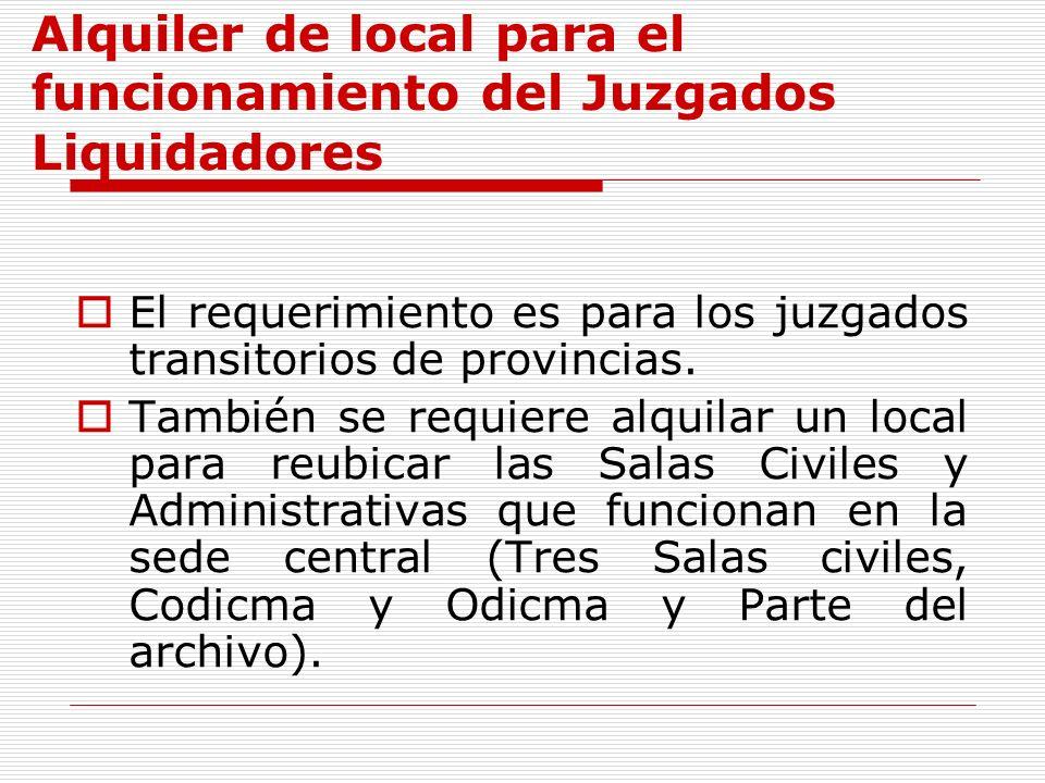 Alquiler de local para el funcionamiento del Juzgados Liquidadores El requerimiento es para los juzgados transitorios de provincias. También se requie