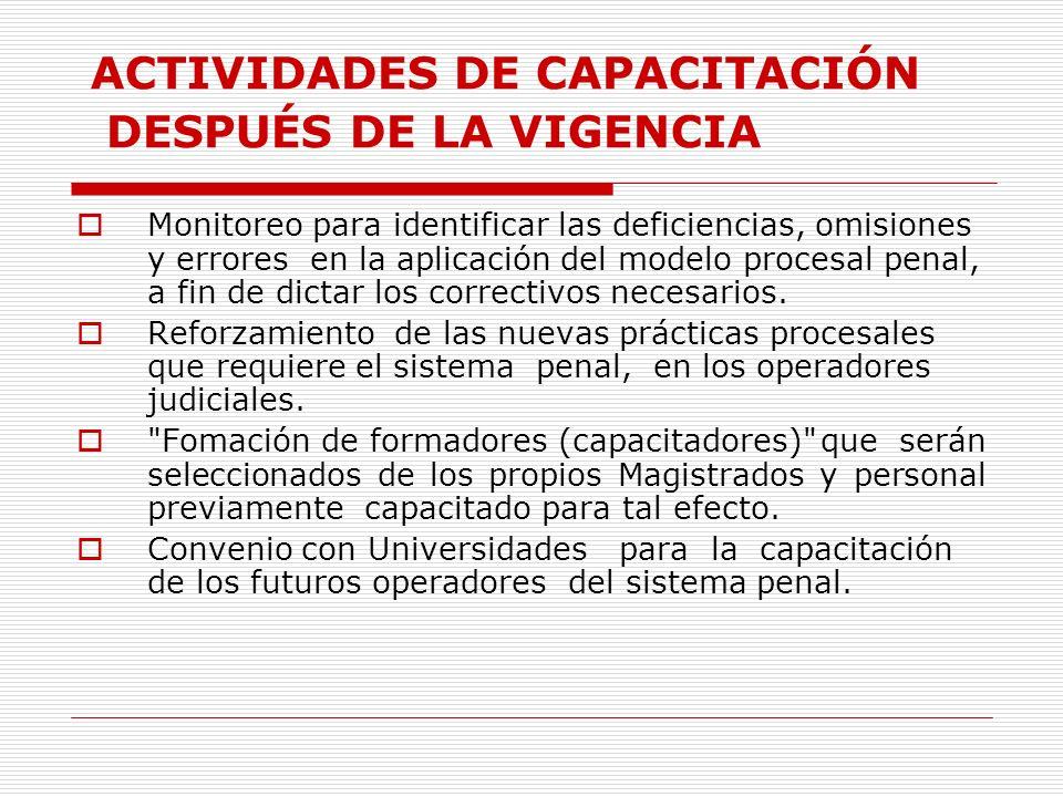 ACTIVIDADES DE CAPACITACIÓN DESPUÉS DE LA VIGENCIA Monitoreo para identificar las deficiencias, omisiones y errores en la aplicación del modelo proces