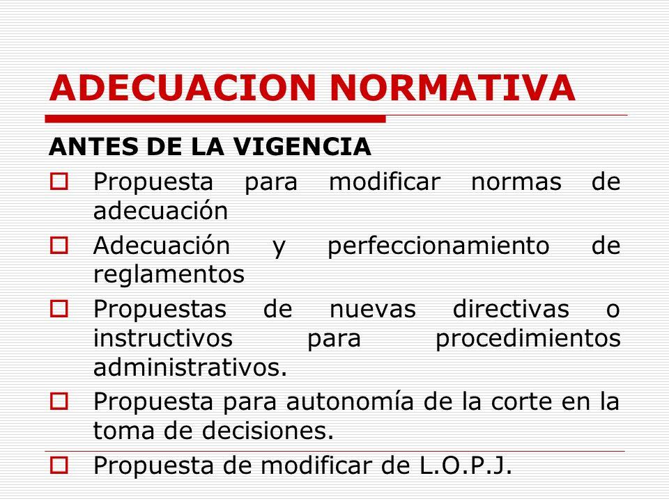 ADECUACION NORMATIVA ANTES DE LA VIGENCIA Propuesta para modificar normas de adecuación Adecuación y perfeccionamiento de reglamentos Propuestas de nu