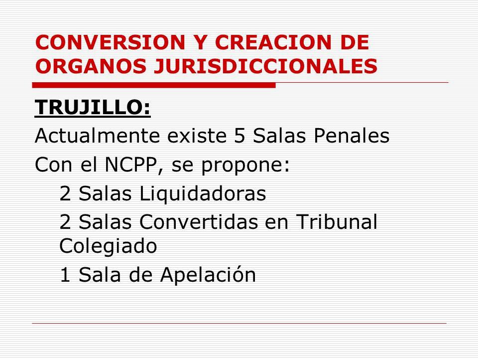 CONVERSION Y CREACION DE ORGANOS JURISDICCIONALES TRUJILLO: Actualmente existe 5 Salas Penales Con el NCPP, se propone: 2 Salas Liquidadoras 2 Salas C