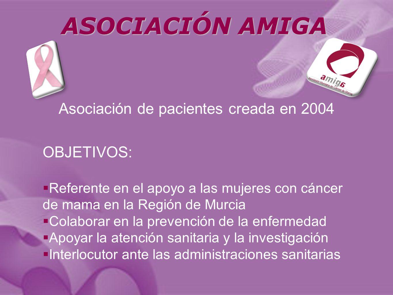 OBJETIVOS: Referente en el apoyo a las mujeres con cáncer de mama en la Región de Murcia Colaborar en la prevención de la enfermedad Apoyar la atención sanitaria y la investigación Interlocutor ante las administraciones sanitarias Asociación de pacientes creada en 2004