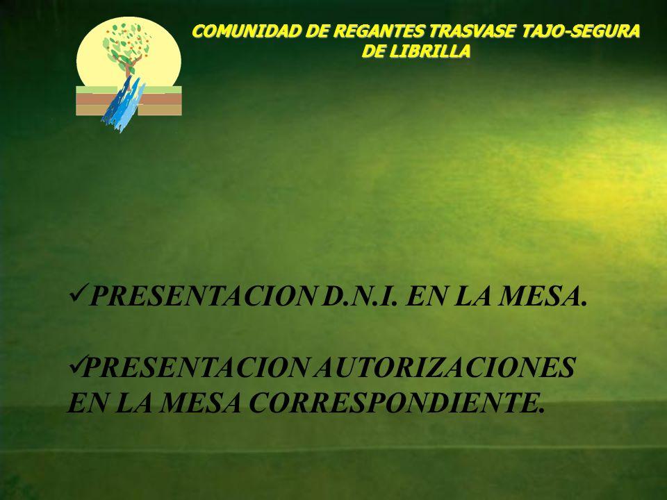 COMUNIDAD DE REGANTES TRASVASE TAJO-SEGURA DE LIBRILLA PRESENTACION D.N.I. EN LA MESA. PRESENTACION AUTORIZACIONES EN LA MESA CORRESPONDIENTE.