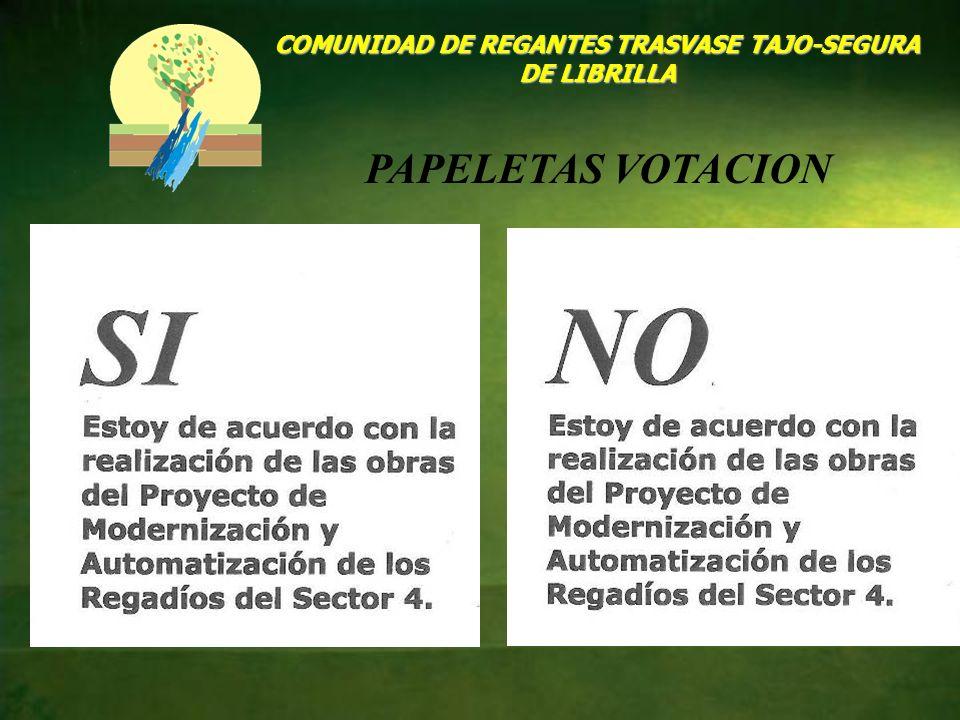 COMUNIDAD DE REGANTES TRASVASE TAJO-SEGURA DE LIBRILLA PAPELETAS VOTACION
