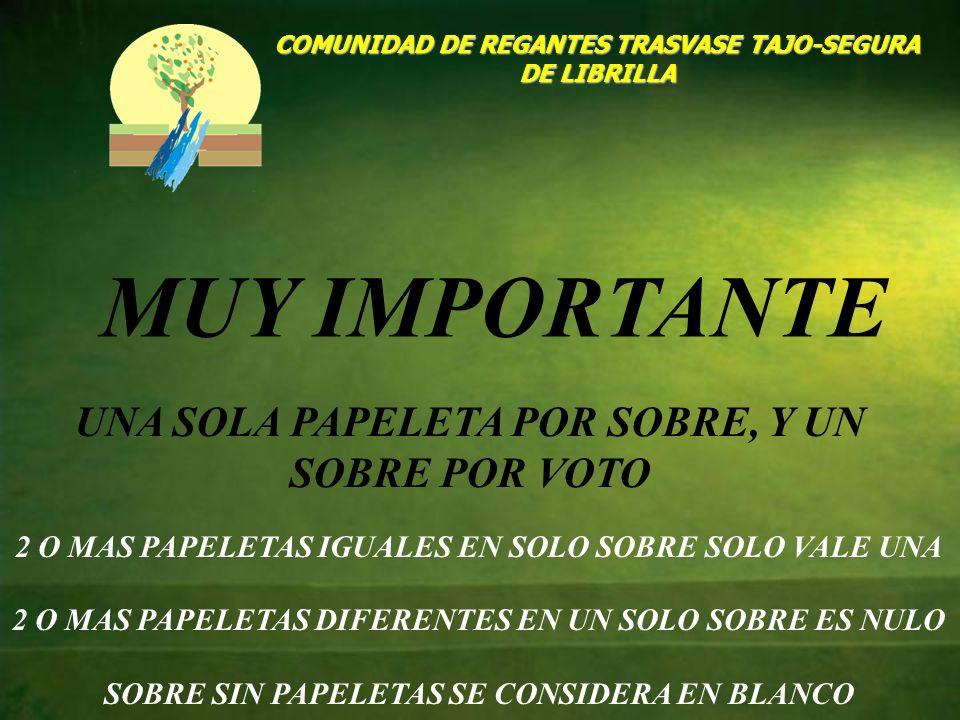 COMUNIDAD DE REGANTES TRASVASE TAJO-SEGURA DE LIBRILLA MUY IMPORTANTE UNA SOLA PAPELETA POR SOBRE, Y UN SOBRE POR VOTO 2 O MAS PAPELETAS IGUALES EN SO