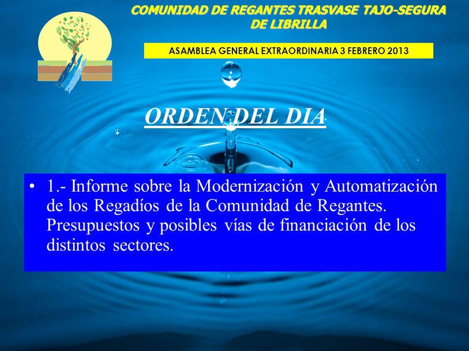 ORDEN DEL DIA 1.- Informe sobre la Modernización y Automatización de los Regadíos de la Comunidad de Regantes. Presupuestos y posibles vías de financi