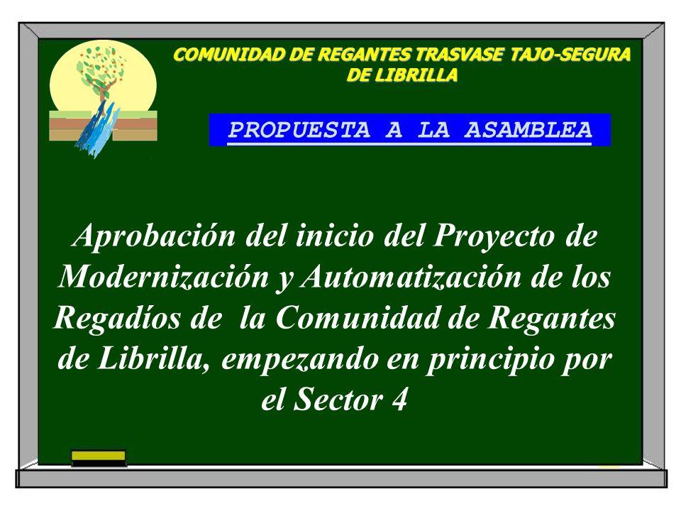 PROPUESTA A LA ASAMBLEA COMUNIDAD DE REGANTES TRASVASE TAJO-SEGURA DE LIBRILLA Aprobación del inicio del Proyecto de Modernización y Automatización de