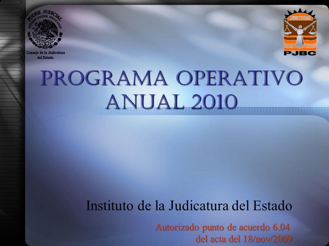 PROGRAMA OPERATIVO ANUAL 2010 Instituto de la Judicatura del Estado Autorizado punto de acuerdo 6.04 del acta del 18/nov/2009