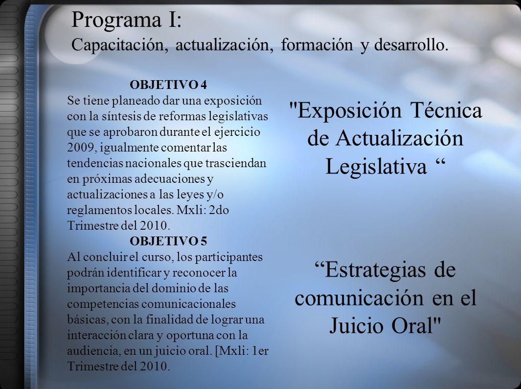 PROGRAMA V: Difusión y vinculación Institucional.