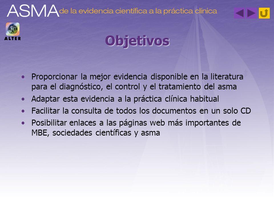Objetivos Proporcionar la mejor evidencia disponible en la literatura para el diagnóstico, el control y el tratamiento del asma Adaptar esta evidencia