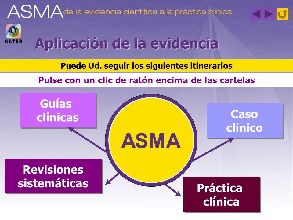Aplicación de la evidencia Guías clínicas Guías clínicas Revisiones sistemáticas Revisiones sistemáticas Práctica clínica Práctica clínica Caso clínic