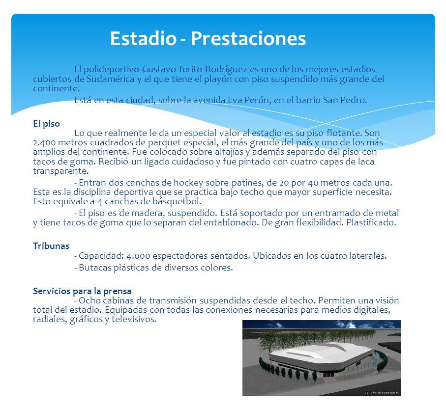 El polideportivo Gustavo Torito Rodríguez es uno de los mejores estadios cubiertos de Sudamérica y el que tiene el playón con piso suspendido más gran