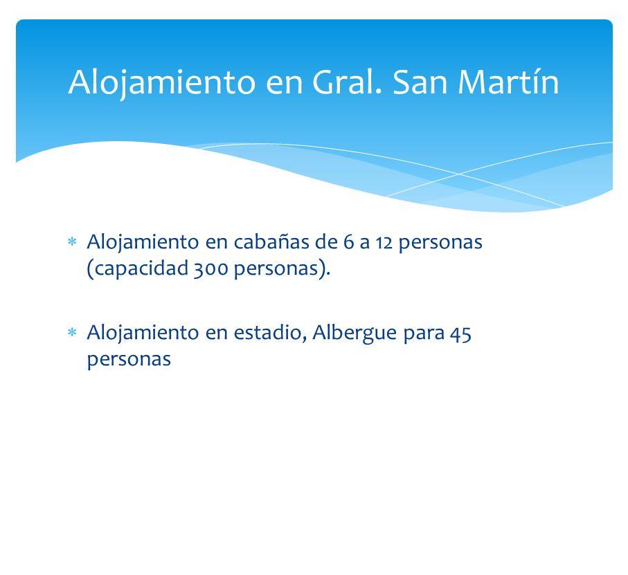 Alojamiento en cabañas de 6 a 12 personas (capacidad 300 personas). Alojamiento en estadio, Albergue para 45 personas Alojamiento en Gral. San Martín