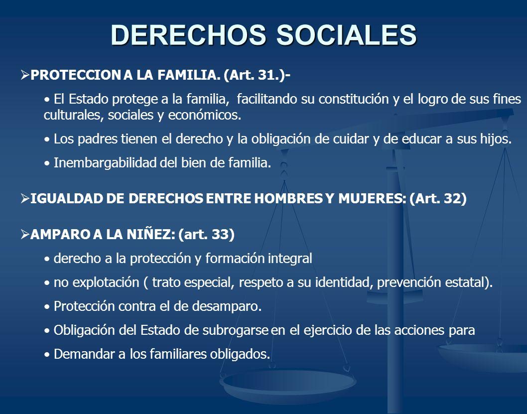 DERECHOS SOCIALES PROTECCION A LA FAMILIA. (Art. 31.)- El Estado protege a la familia, facilitando su constitución y el logro de sus fines culturales,