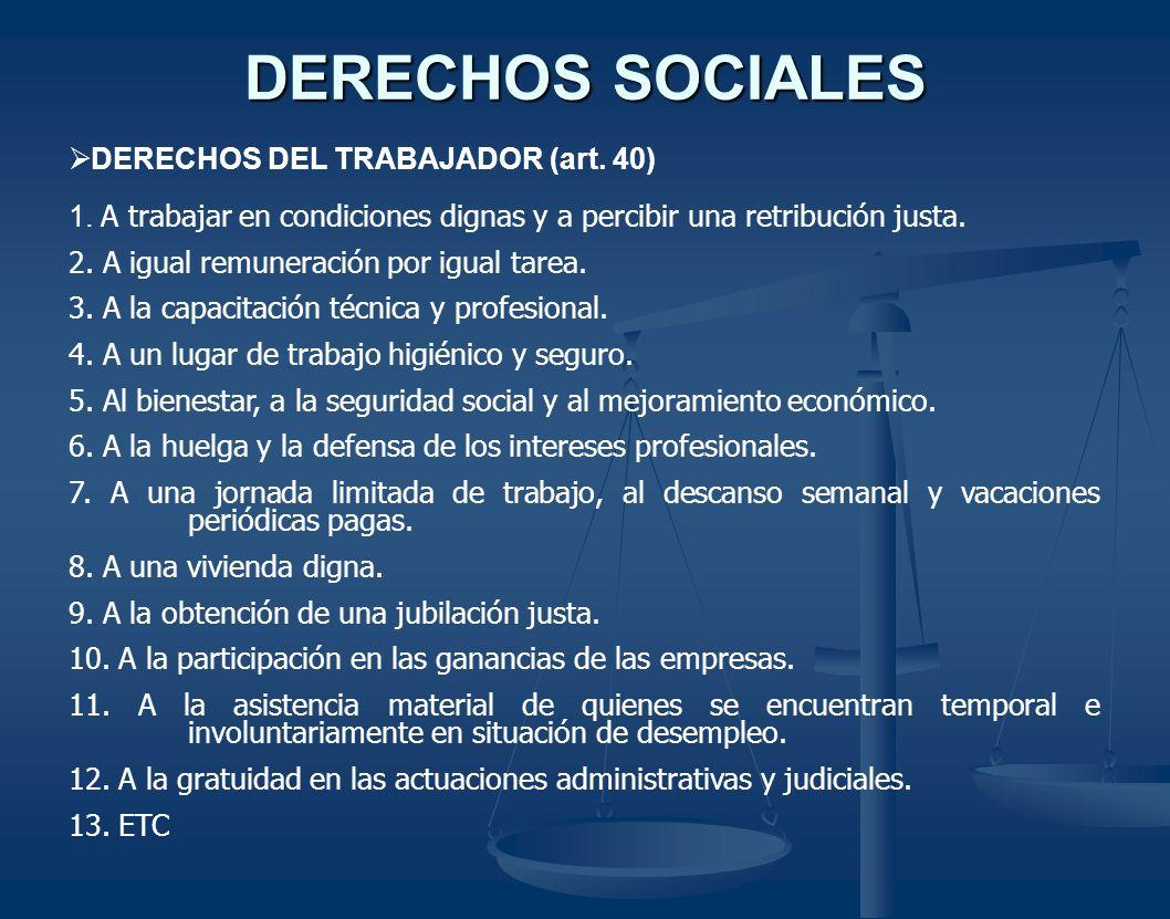 DERECHOS SOCIALES DERECHOS DEL TRABAJADOR (art. 40) 1. A trabajar en condiciones dignas y a percibir una retribución justa. 2. A igual remuneración po