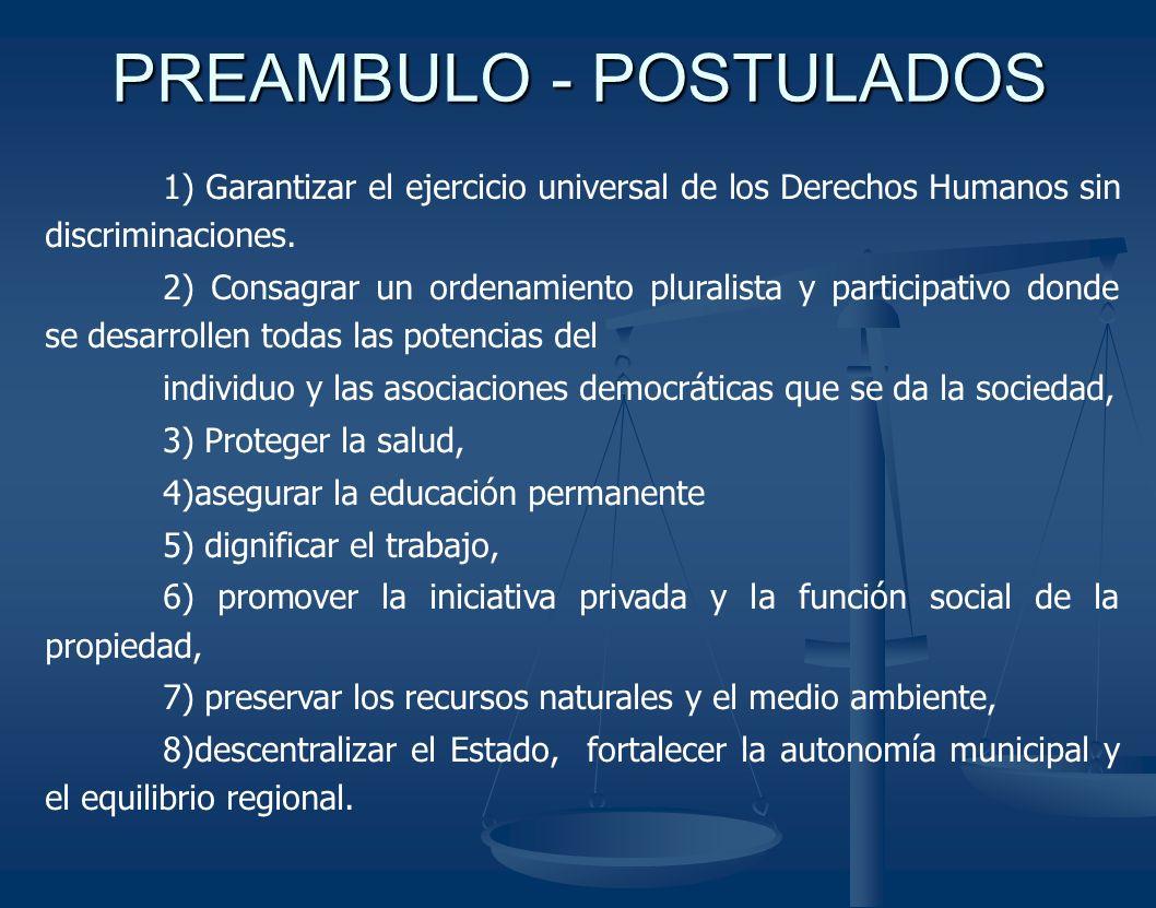 PREAMBULO - POSTULADOS 1) Garantizar el ejercicio universal de los Derechos Humanos sin discriminaciones. 2) Consagrar un ordenamiento pluralista y pa
