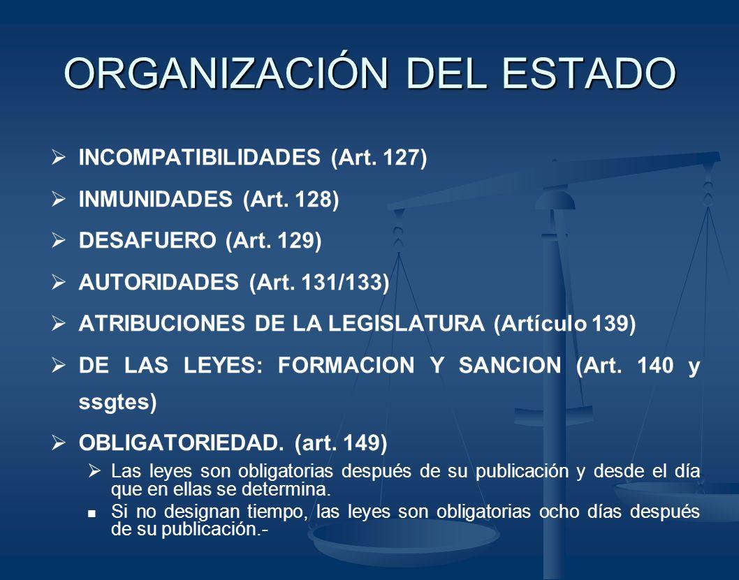 ORGANIZACIÓN DEL ESTADO INCOMPATIBILIDADES (Art. 127) INMUNIDADES (Art. 128) DESAFUERO (Art. 129) AUTORIDADES (Art. 131/133) ATRIBUCIONES DE LA LEGISL