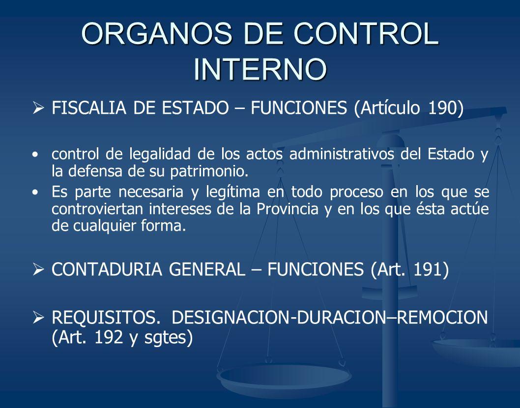 ORGANOS DE CONTROL INTERNO FISCALIA DE ESTADO – FUNCIONES (Artículo 190) control de legalidad de los actos administrativos del Estado y la defensa de