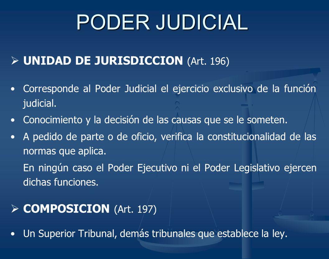 PODER JUDICIAL UNIDAD DE JURISDICCION (Art. 196) Corresponde al Poder Judicial el ejercicio exclusivo de la función judicial. Conocimiento y la decisi