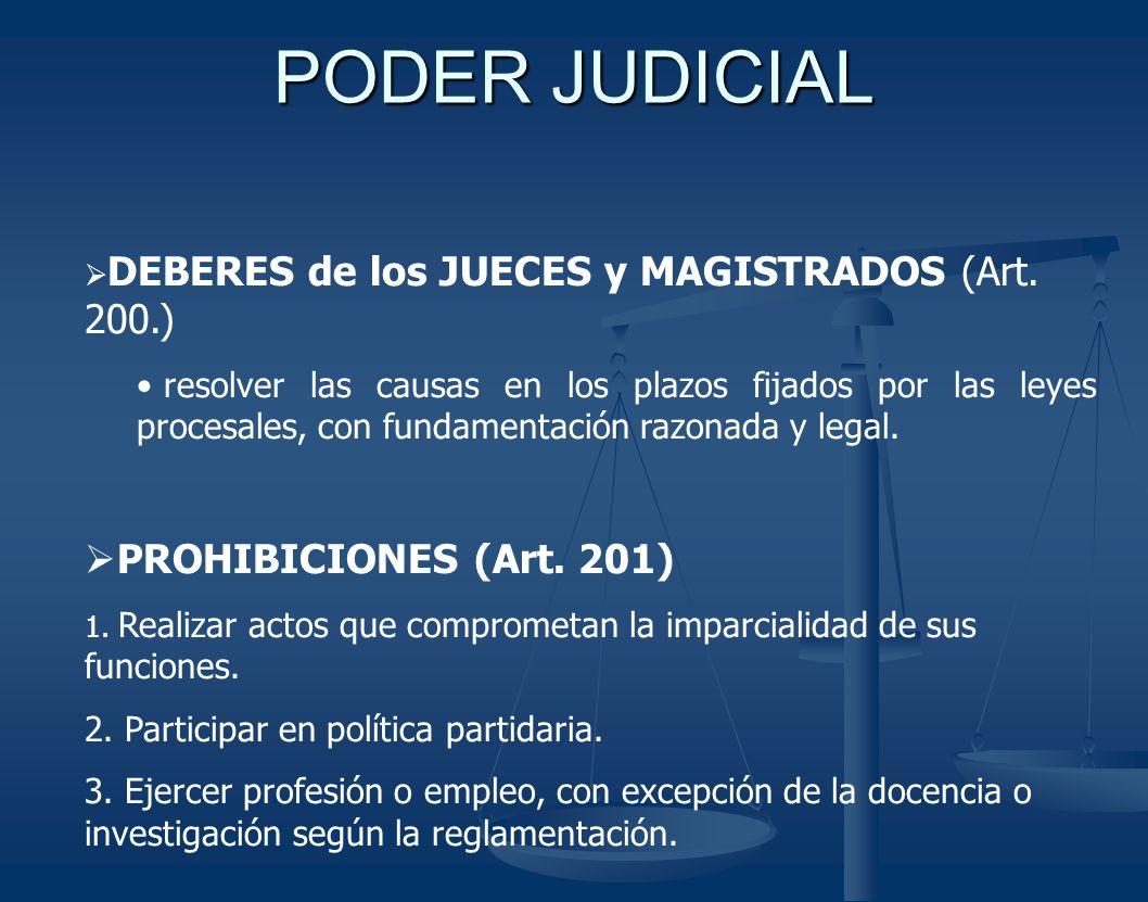 PODER JUDICIAL DEBERES de los JUECES y MAGISTRADOS (Art. 200.) resolver las causas en los plazos fijados por las leyes procesales, con fundamentación