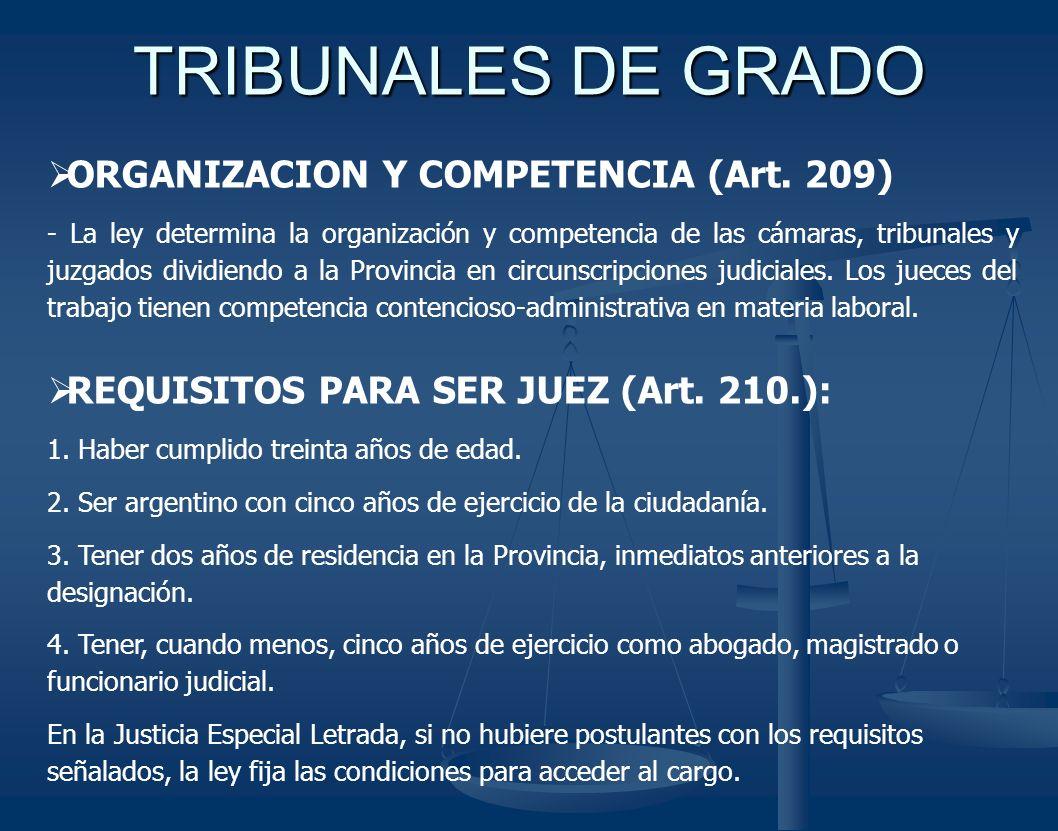 TRIBUNALES DE GRADO ORGANIZACION Y COMPETENCIA (Art. 209) - La ley determina la organización y competencia de las cámaras, tribunales y juzgados divid
