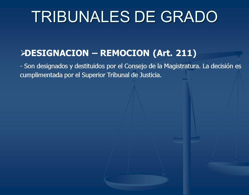 TRIBUNALES DE GRADO DESIGNACION – REMOCION (Art. 211) - Son designados y destituidos por el Consejo de la Magistratura. La decisión es cumplimentada p