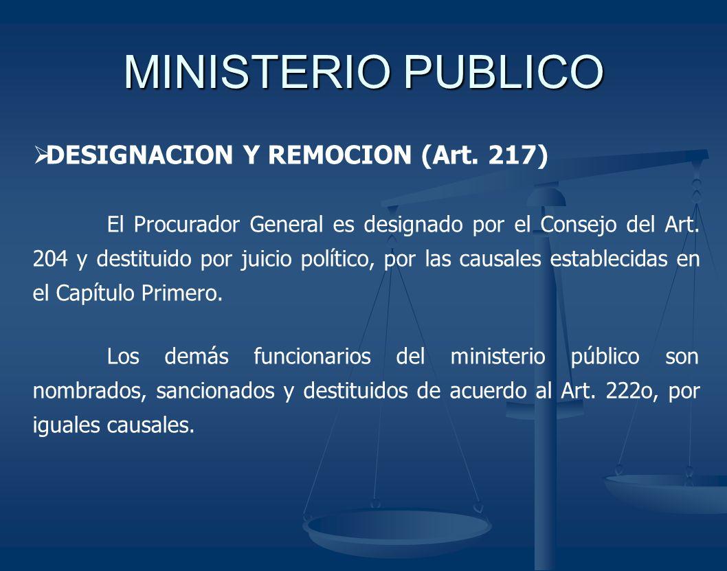 MINISTERIO PUBLICO DESIGNACION Y REMOCION (Art. 217) El Procurador General es designado por el Consejo del Art. 204 y destituido por juicio político,