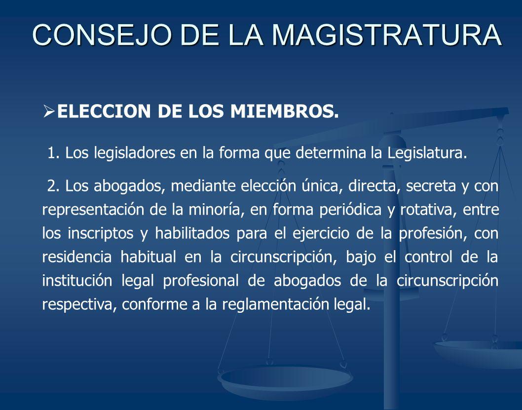CONSEJO DE LA MAGISTRATURA ELECCION DE LOS MIEMBROS. 1. Los legisladores en la forma que determina la Legislatura. 2. Los abogados, mediante elección