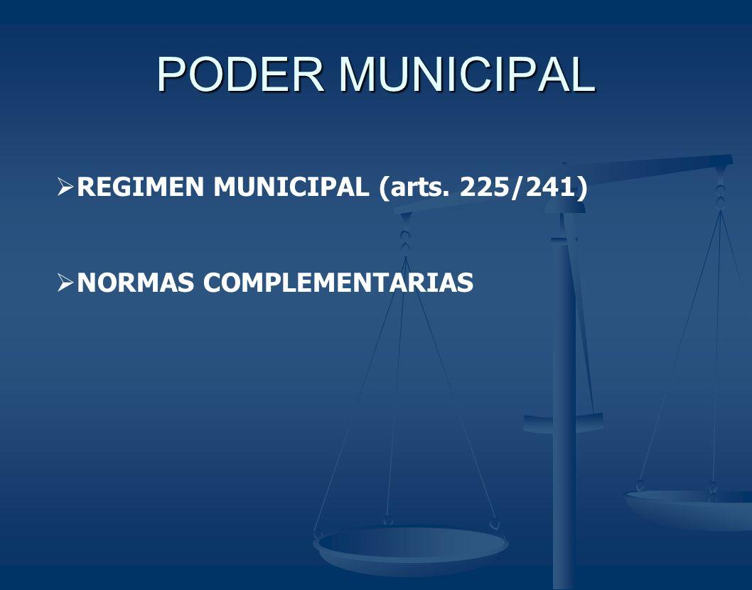 PODER MUNICIPAL REGIMEN MUNICIPAL (arts. 225/241) NORMAS COMPLEMENTARIAS