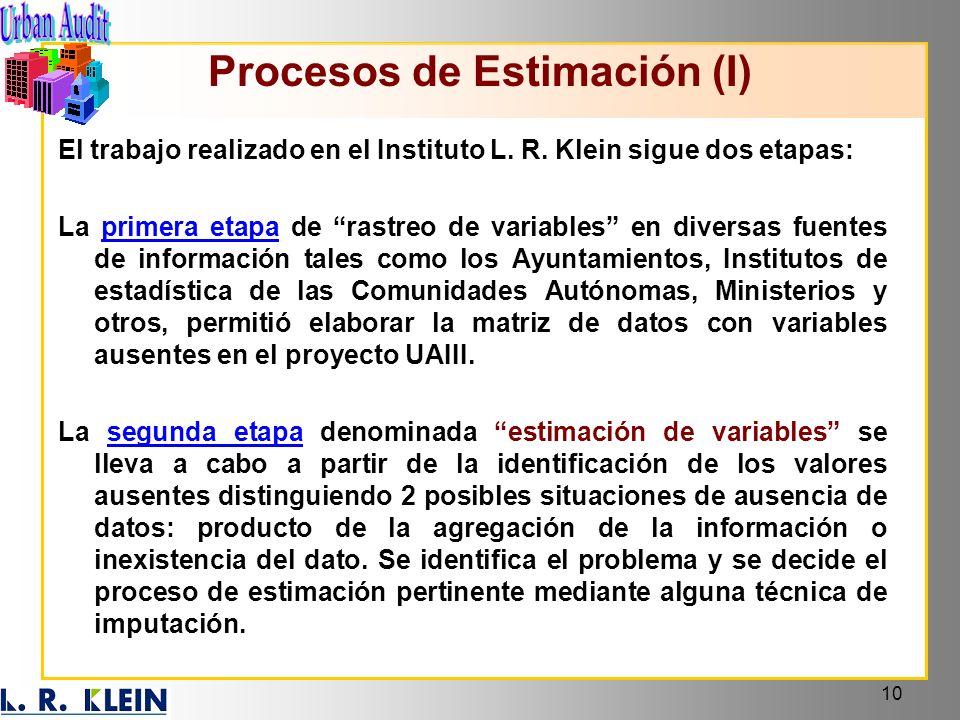 10 Procesos de Estimación (I) El trabajo realizado en el Instituto L. R. Klein sigue dos etapas: La primera etapa de rastreo de variables en diversas
